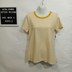 Old Navy Yellow Short Sleeve Striped Top. Sz. Med.